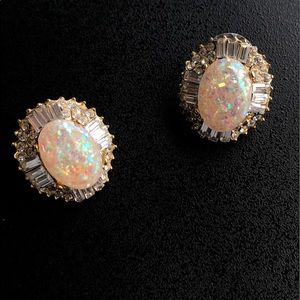Mirabo Gold Opal and Rhinestone Earrings